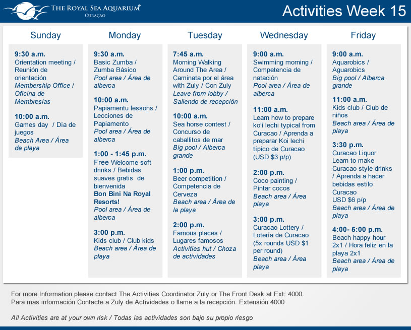 Sea Aquarium Resort Activity List Week 15