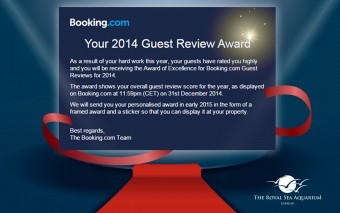 The Royal Sea Aquarium Resort receives the 2014 Guest Review Award